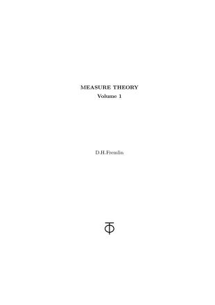 Cover of: Measure theory by D. H. Fremlin