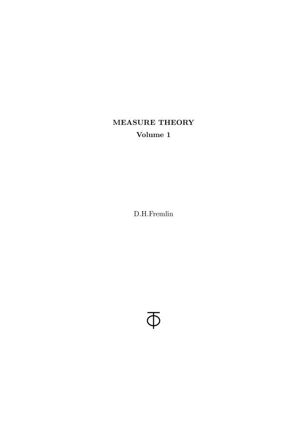 Measure theory by D. H. Fremlin